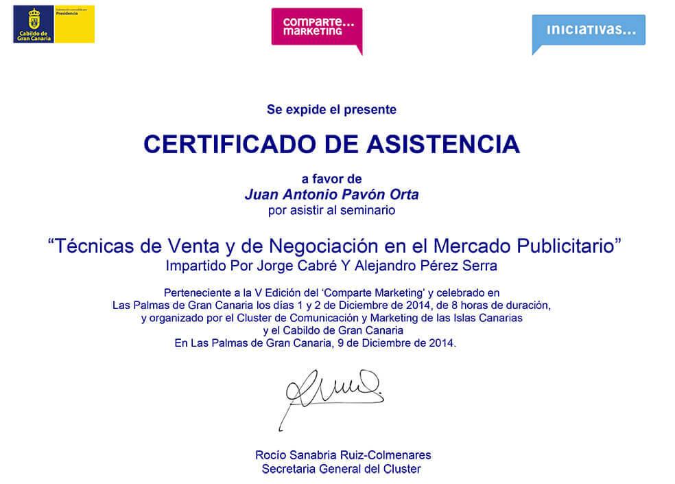 Técnicas de Venta y de Negociación en el Mercado Publicitario - Certificación - Juan Antonio Pavón