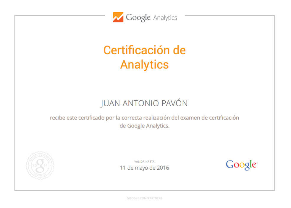 Certificación Google Analytics Juan Antonio Pavón