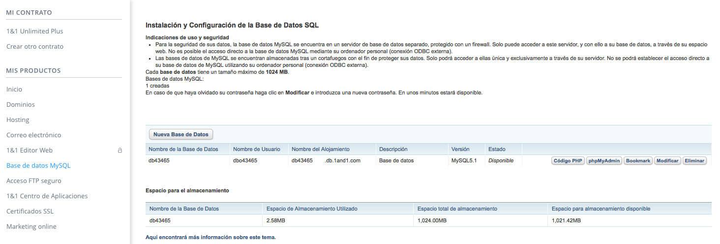 Bases de datos MySQL de 1&1