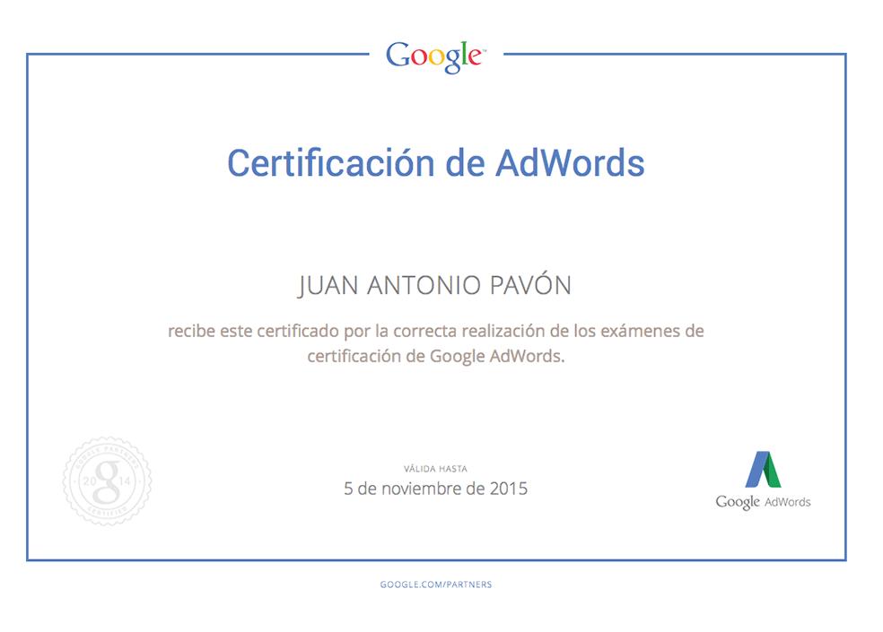 Certificación Google Adwords Juan Antonio Pavón