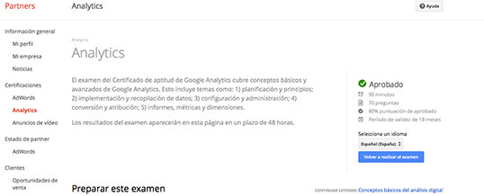 Certificación de Google Analytics