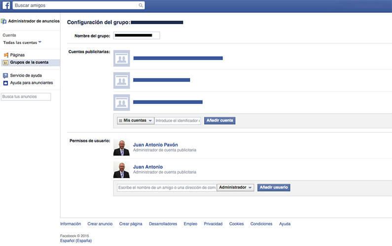 Configuración de grupo en Facebook Ads