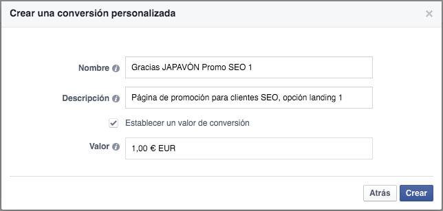 Conversión personalizada de ejemplo para japavon