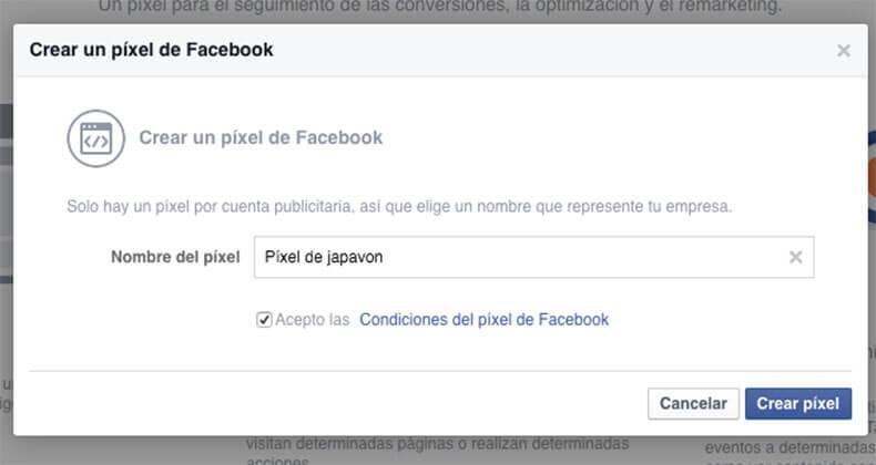 Crear un píxel de Facebook para japavon