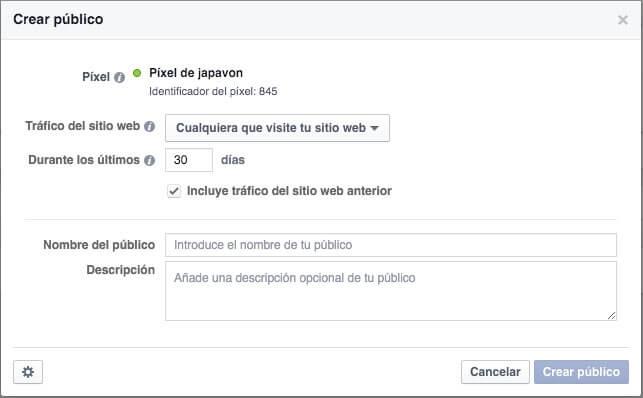 Crear público en píxel de Facebook
