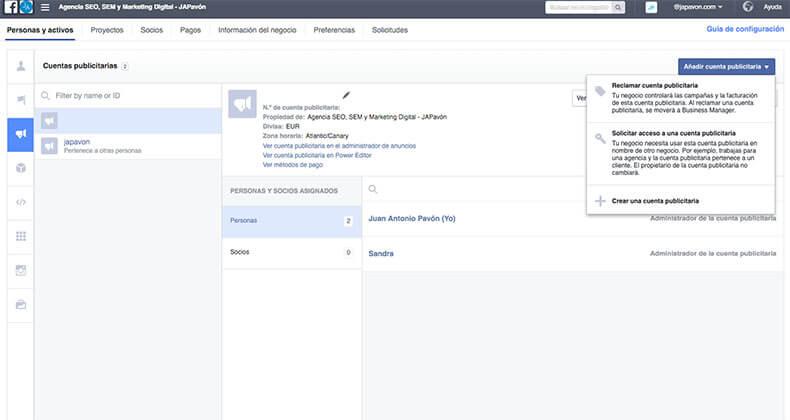 Cuentas publicidad en Facebook Business Manager