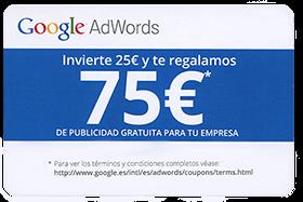 Gestión de Google Adwords, cupón promocional 75€