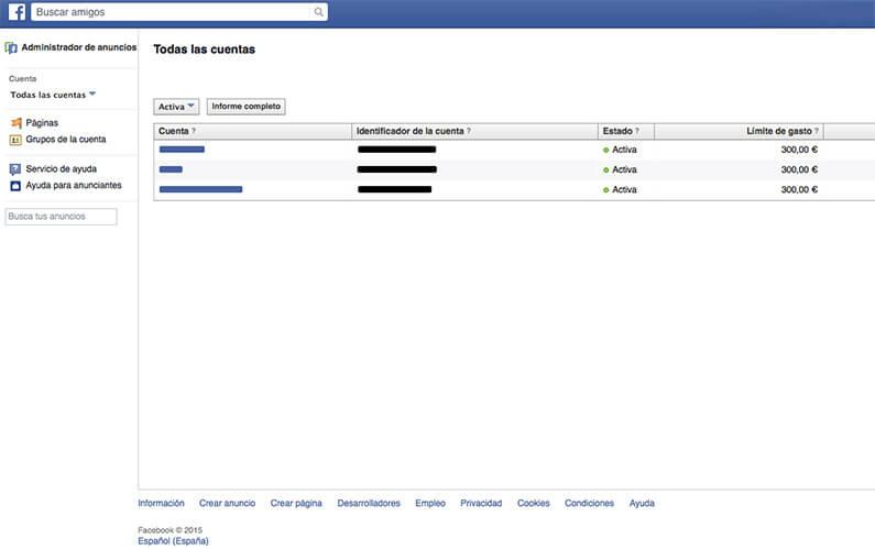 Datos de las cuentas Facebook Ads