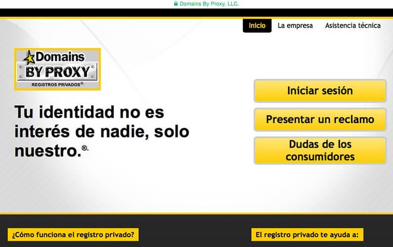 Domain by Proxy o registros privados de dominios