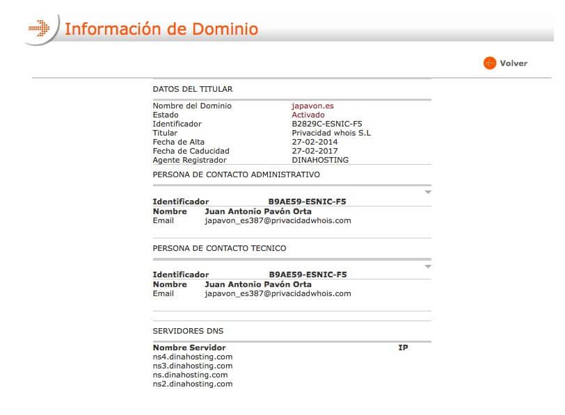 Datos de dominio .es