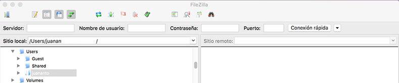 Datos de acceso FTP FileZilla al hosting