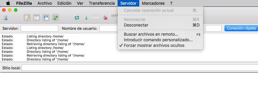 Forzar archivos ocultos en FileZilla