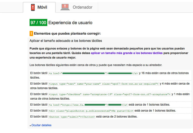 Google Pagespeed Insights errores - usabilidad móvil