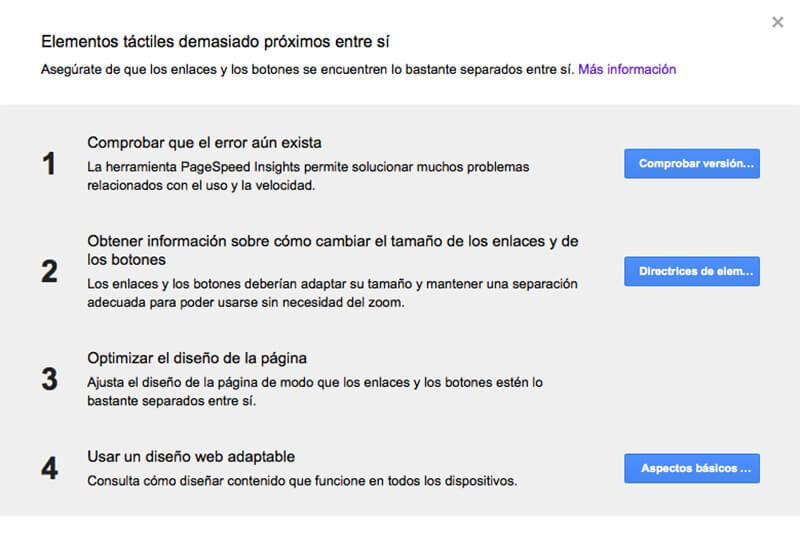 Google Webmasters - Elementos táctiles - usabilidad móvil