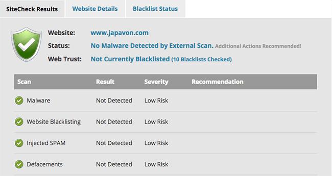 SiteCheck para Analizar problemas de seguridad WordPress