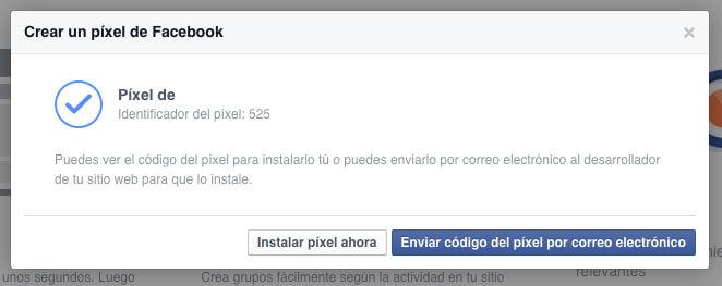 Instalar el código píxel de Facebook