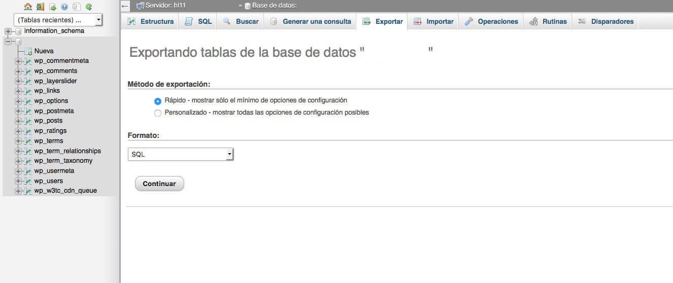 Migrar la base de datos MySQL vía phpMyAdmin