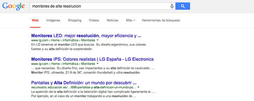 Sinónimos Google para el posicionamiento