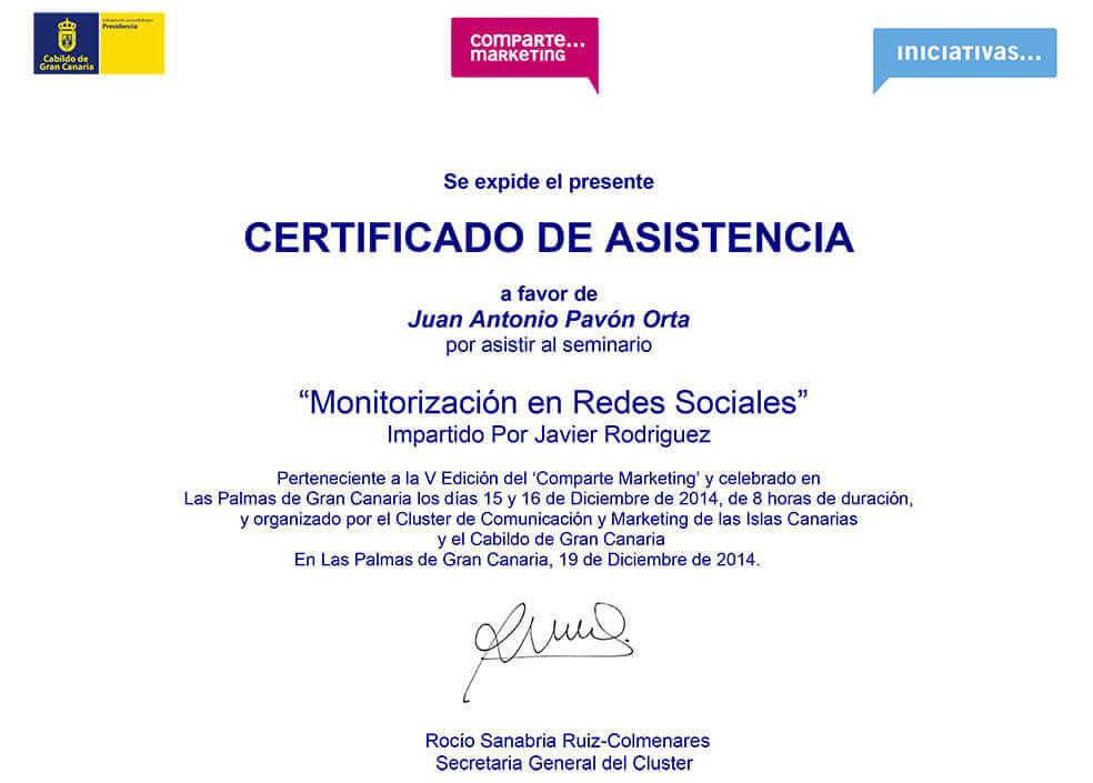 Monitorización en redes sociales Juan Antonio Pavón
