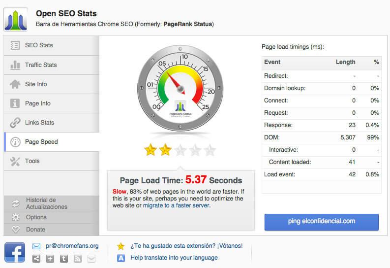 Análisis SEO con Open SEO Stats - velocidad de la página