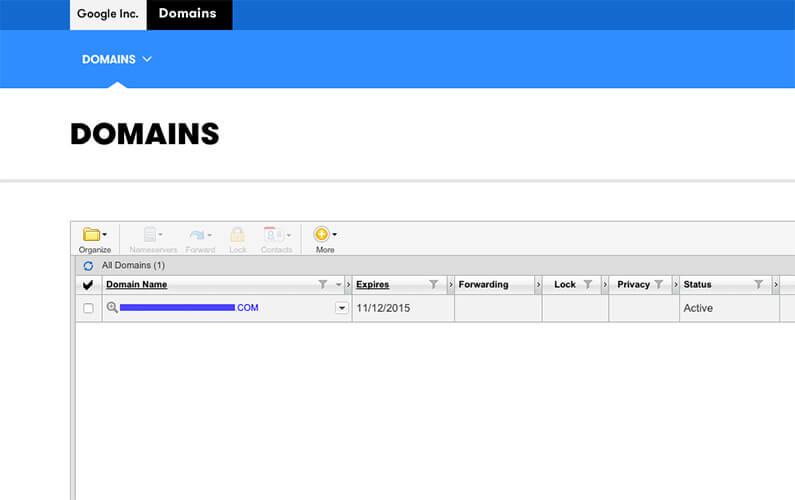 Panel de control Google Inc. para gestión de dominio