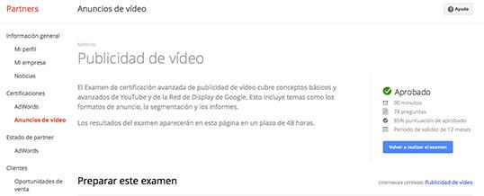 Publicidad de Vídeo, nueva certificación de AdWords