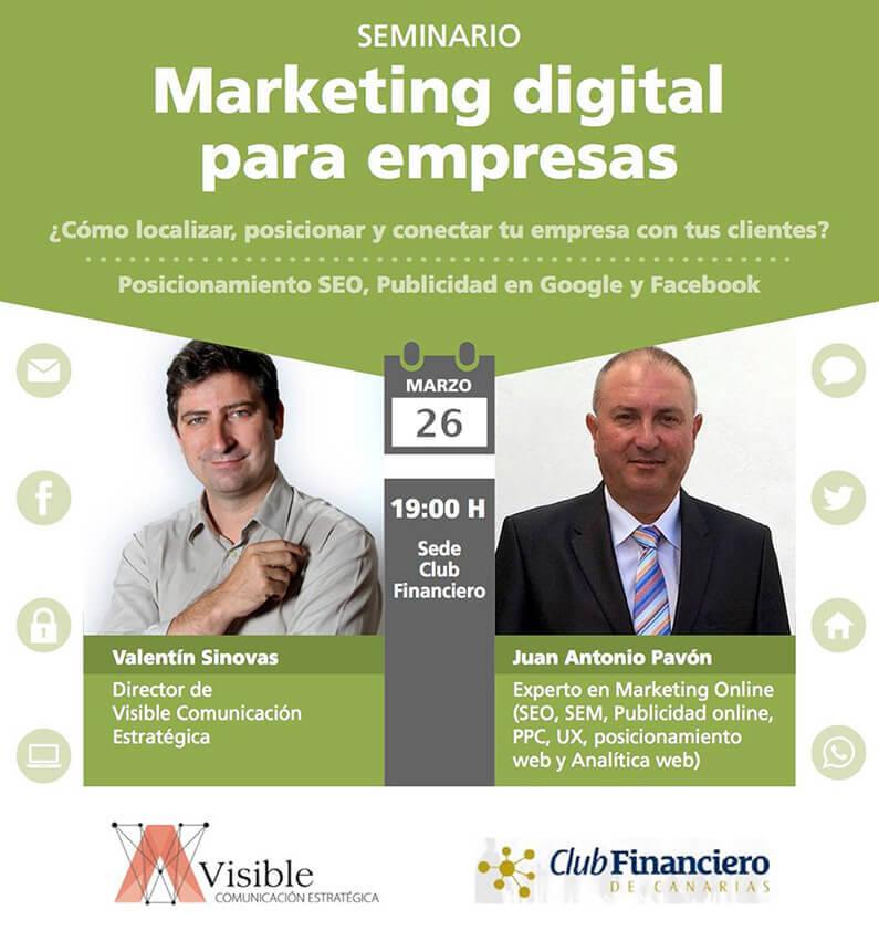 Seminario Marketing Digital para empresas impartido en el Club Financiero de Canarias