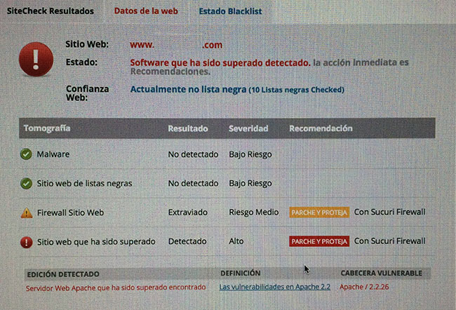 Servidor desactualizado para Apache