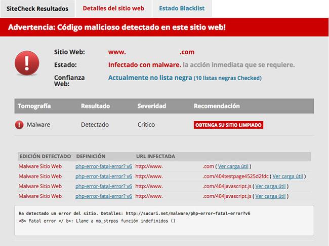 Sitecheck malware detectado en WordPress