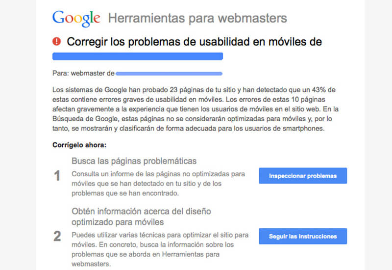 Usabilidad móvil de Google